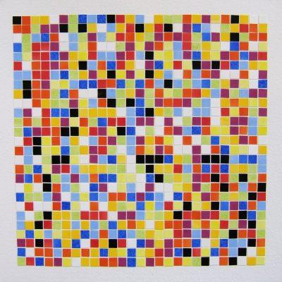 Ten Colours - 729 Tiles Arranged By Chance, 2016, 35 x 35 cm, watercolour on cut paper