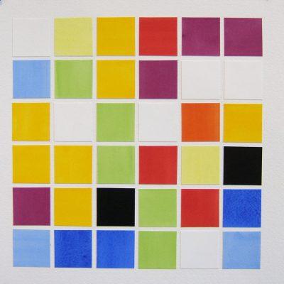 Ten Colours - 36 Tiles Arranged By Chance, 2016, 35 x 35 cm, watercolour on cut paper