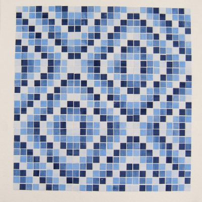 Four Tones Of Blue Arranged In A Spiral And Repeated In A 3x3 Grid, 35 x 35 cm, watercolour on cut paper, 2016