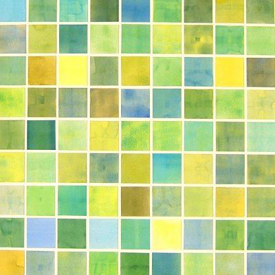 Colour Card Series II - Green, 2010, 56 x 56 cm, watercolour on cut paper