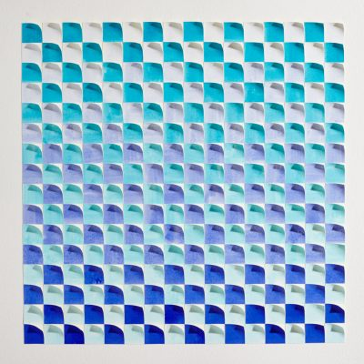Merge, 2015, 56 x 56 cm watercolour on cut and curled paper
