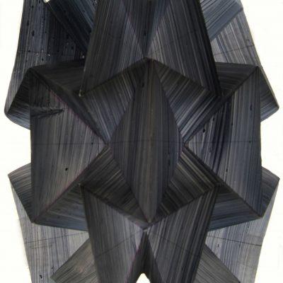 Dark Fold Clean, 2016, 16 x 10 cm, ink on folded tracing film