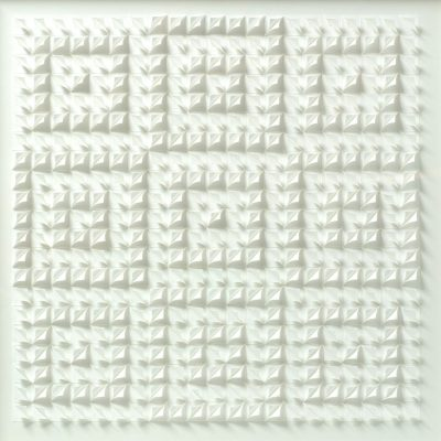 Three Square - Meditation in White, 2010, 65 x 65 cm, torn and curled paper on paper