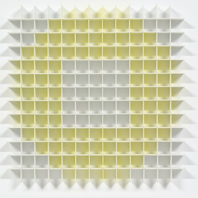 Yellow Circle / White Square, 2011, 39 x 39 x 3 cm, acrylic on balsa