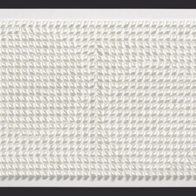 Homage to Nicholson, 2014, 98 x 55 cm, torn and curled paper on board