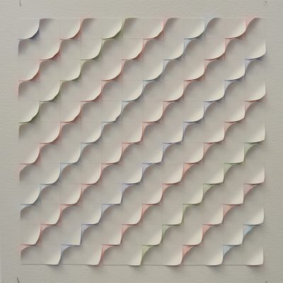 #13 Coloured Sketch, 2014, 42 x 42 watercolour on cut and curled paper