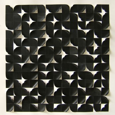 Black Square Reconstructed II, 201345 x 45 cm, ink on cut and curled paper