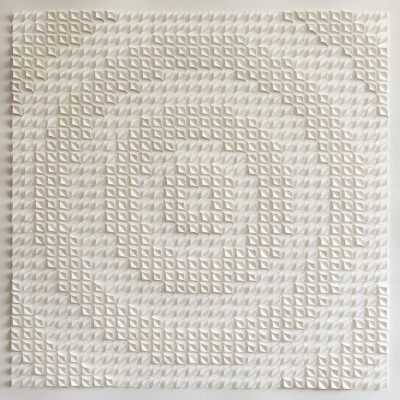 Circling the Square, 2018, 105 x 105 cm, torn and curled paper on paper