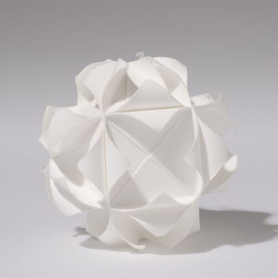 Cube, 2012, 13 cm diameter, torn and curled paper on paper