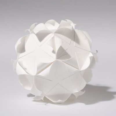 Dodecahedron, 2012, 18 cm diameter, torn and curled paper on paper
