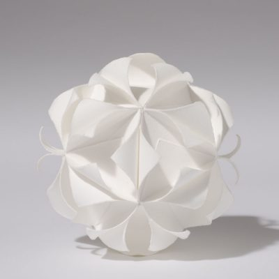 Icosahedron, 2012, 12 cm diameter, torn and curled paper on paper