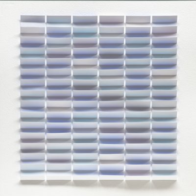 Soft Blue, 2019, 56 x 56, watercolour on cut and folded paper
