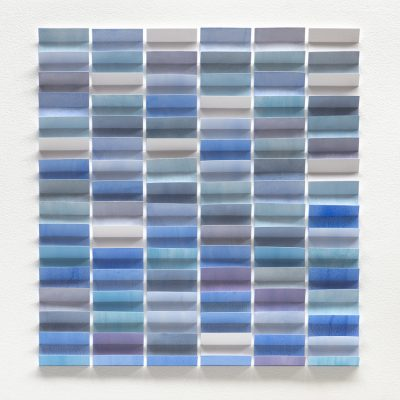 Strong Blue, 2019, 56 x 56, watercolour and pastel on cut and folded paper