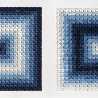 The Persistence of Blue, 2019, 200 x 100 (diptych), ink in cut and folded paper